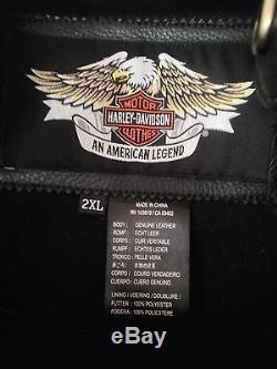 Men's Harley-Davidson Willie G. Skull Black Leather Reflective Jacket 2XL