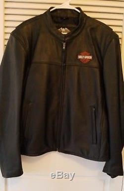 Men's Harley Davidson motorcycle authentic leather black jacket logo XL X-Large