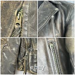 Men's Vintage LANGLITZ Horsehide Leather Moto Motorcycle Biker Hot Rod Jacket 42