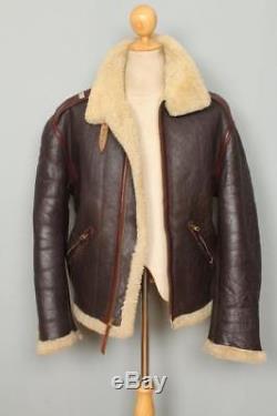 Mens AERO Scotland B-6 Sheepskin & Horsehide Leather Flight Jacket Large