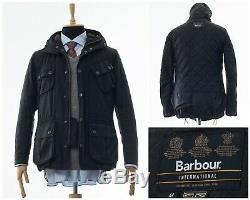 Mens BARBOUR INTERNATIONAL Hooded Motorcycle Jacket Coat Wax Waxed Black Size M