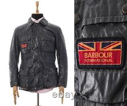 Mens BARBOUR INTERNATIONAL Motorcycle Jacket Coat Shell Navy Blue Size M