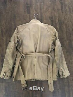 Mens BELSTAFF Belted WAXED Motorcycle Jacket Size 40 Tan Gold Label