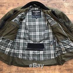 Mens Barbour X Triumph Olive Wax Armoured Biker Jacket Size Medium