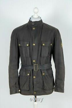 Mens Belstaff Waxed Cotton Black Belted Motorcycle Jacket Size XL