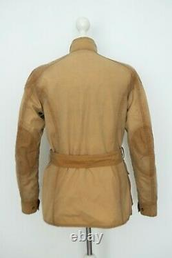 Mens Belstaff Waxed Cotton Brown Belted Motorcycle Jacket Size S