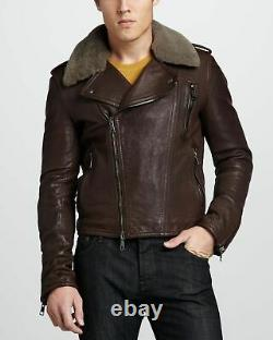 Mens Burberry Brit Brown Leather Biker Aviator Jacket with Shearling Collar M