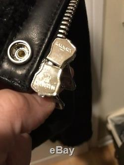 Mens FW15 Balmain Shearling Leather Perfecto Moto Jacket SZ 50/40