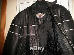 Mens Harley Davidson Genuine Black Leather Coat Jacket Size 2XL Kevlar Vents