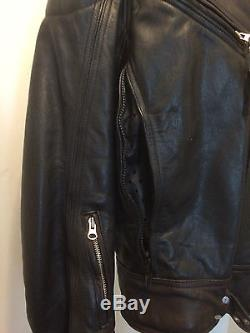 Mens Harley Davidson Motorcycle Dyna Victory Black Brown Leather Jacket L