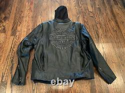 Mens Harley Davidson Two In One Leather Jacket & Hoodie Vest Size XL