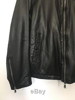 Mens John Varvatos Star Black Leather Moto Jacket Large Luxe Cafe Racer XL