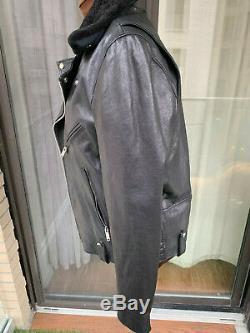 Mens Ovadia & Sons Leather Motorcycle Shearling Biker Jacket Medium