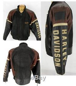 Mens RARE Harley Davidson Heavy Leather Racer Motorcycle Biker Jacket L Large