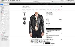 Mens SAINT LAURENT Distressed Leather Jacket motorcycle biker style sz xl