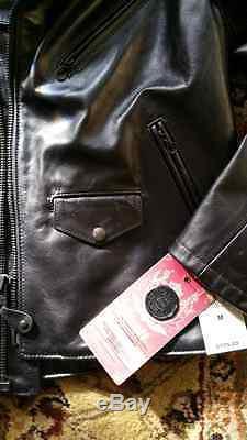 Mens Schott X Lucky Matte Leather Motorcycle Jacket S M