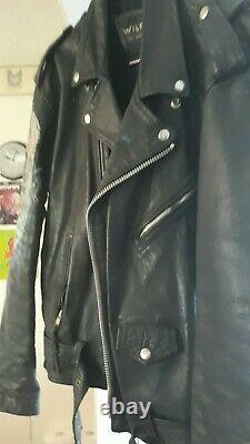 Mens Wilsons custom painted LEATHER Biker Punk Jacket XL PINHEAD BATMAN VINTAGE