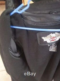 Mens XL Leather Harley Davidson Willie G Skull Riding Jacket with removal liner
