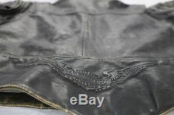 Mens harley davidson leather jacket vest L brown panhead distressed d pocket