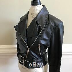 Michael Hoban North Beach Moto Leather Jacket Womens 7 8 Medium Coat Vintage