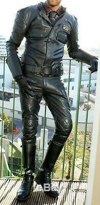 Mike Lewis Leathers Crusader Biker / Motorcycle Jacket Ex Police Surplus 46 BLUF