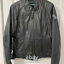 Mint Womens Harley Davidson Leather Bling Riding Jacket. Medium