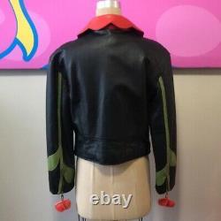 Moschino Cheap Chic Size 14 Black Leather Moto Jacket Rose Vintage