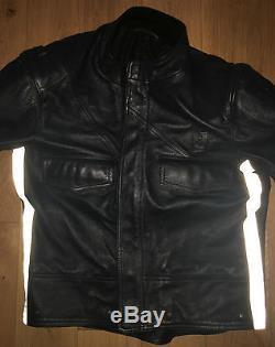 Motorcycle Police Leather Suit Uniform Cop Biker Pants Breeches Jacket Skin Bluf