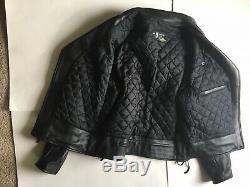 Mr. S (sf) Deluxe Black Leather Motorcycle Biker Jacket Size 42