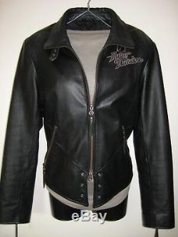 NICE! Harley Davidson Womens Black Leather Jacket Size Large Embroidered Eagle