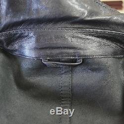NR Authentic Gucci Men's Black Nappa Leather Silver Tone Zipper Jacket Size 58