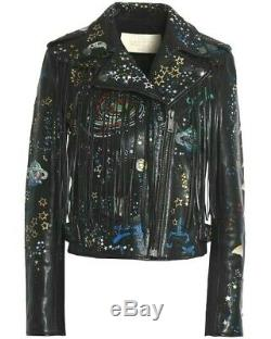 New Never Used Valentino Fringe Graphic Leather Motor Jacket in Black