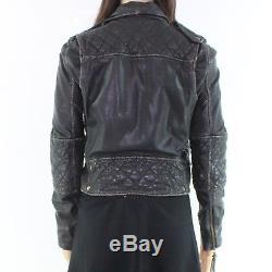 Nicole Miller Black Women's Size P Petite Motorcycle Leather Jacket $560- #100