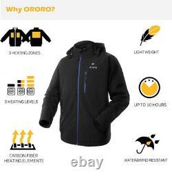 ORORO Mens Battery Heated Jacket Motorcycle Skiing Snow Winter Jacket