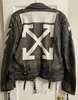 Off-White c/o Virgil Abloh Distressed Leather Biker Jacket Men's XL