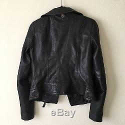 Orig $595 XS Mackage Kenya Black Motorcycle Leather Jacket Aritzia
