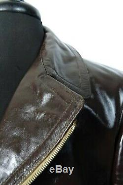 Original 1940's WW2 HORSEHIDE Leather Luftwaffe Motorcycle Sports Jacket 42R M