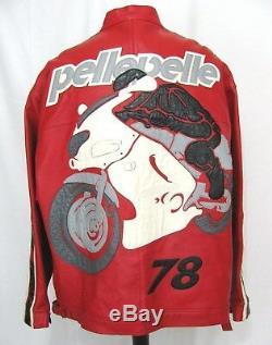 PELLE PELLE Red Motorcycle Racing Leather Jacket 54 Marc Bucanan Biker 2XL 3XL