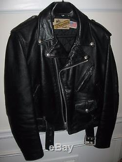 Perfecto By Schott Nyc #618 Men's Black Leather Biker Jacket Size 46 Made In USA