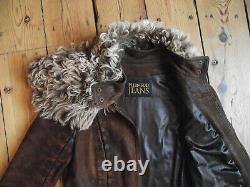PLEIN SUD brown leather jacket S 38 detachable asymmetrical shearling collar