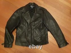 POLO RALPH LAUREN LEATHER MOTORCYCLE BIKER JACKET M coat jeans rrl