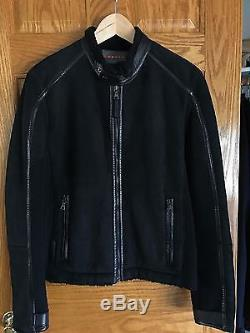 Prada Sport Men S Shearling Leather Jacket Coat 40