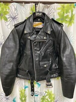Perfecto 618 40 schott riders leather double motorcycle jacket racer 641
