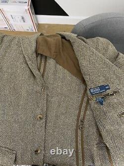 Polo Ralph Lauren 38R Brown Blazer Jacket RRL VTG Rugby Herringbone Tweed Small
