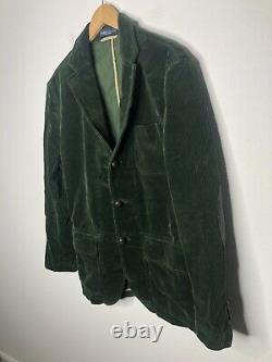 Polo Ralph Lauren 38R Green Corduroy Blazer Jacket RRL VTG Leather Rugby Hunting