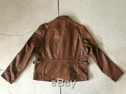 Polo Ralph Lauren Brown Leather Jacket RRL VTG Distressed Burnished XL Moto Coat