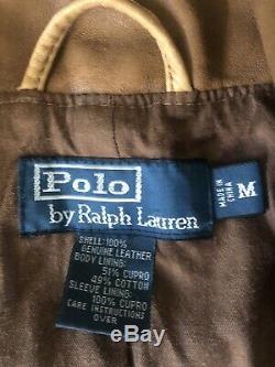 Polo Ralph Lauren Brown Leather Jacket RRL VTG Newsboy Rugged Medium Biker Moto