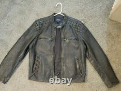 Polo Ralph Lauren Cafe Racer Leather Jacket Size M 100% Lamb Leather