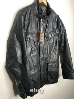 Polo Ralph Lauren Large Black Wax Coated Oil RRL Biker Military Moto VTG Leather