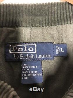 Polo Ralph Lauren Large Green Corduroy Blazer Jacket RRL Military VTG Hunting